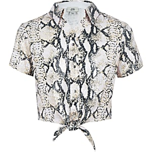 98835aae Girls pink sequin snake print tie knot shirt