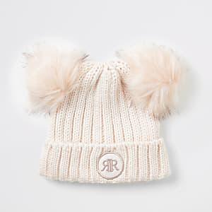 Roze beanie met pompon van imitatiebont voor meisjes