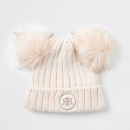 Girls pink faux fur pom pom beanie hat