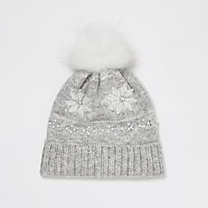 Bestickter Beanie im Fairisle-Stil für Mädchen in Grau