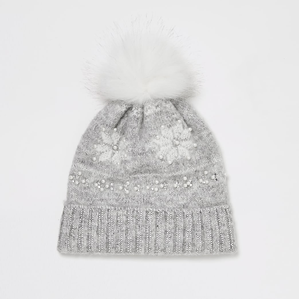 Girls grey fairisle embellished beanie hat