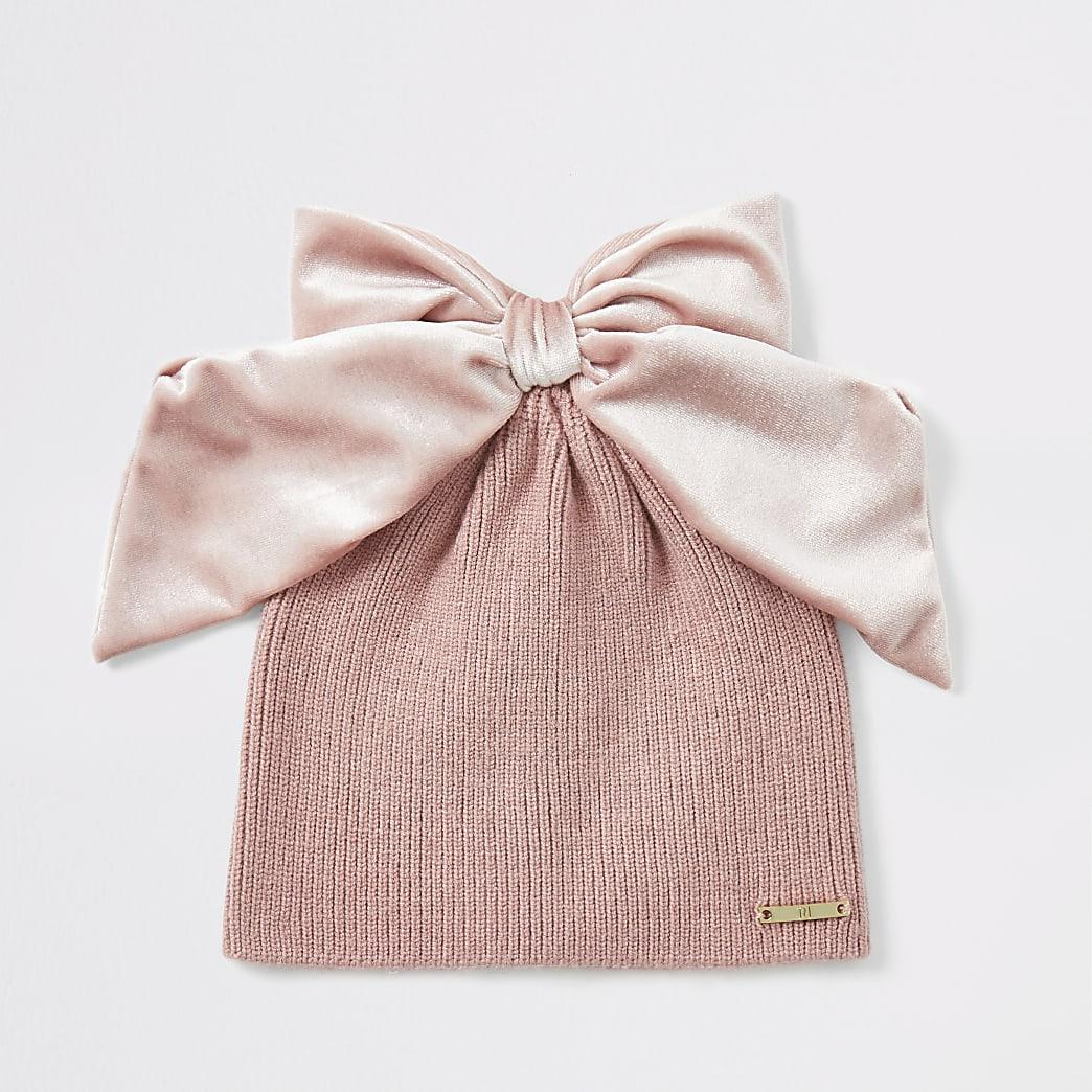Girls pink velvet bow beanie