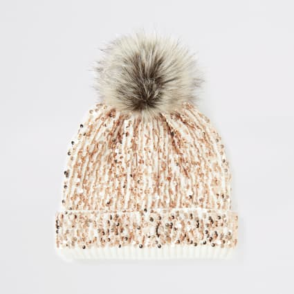 Girls cream sequin embellished beanie hat