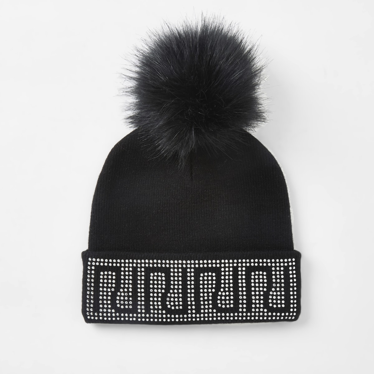 Girls black RI diamante trim beanie