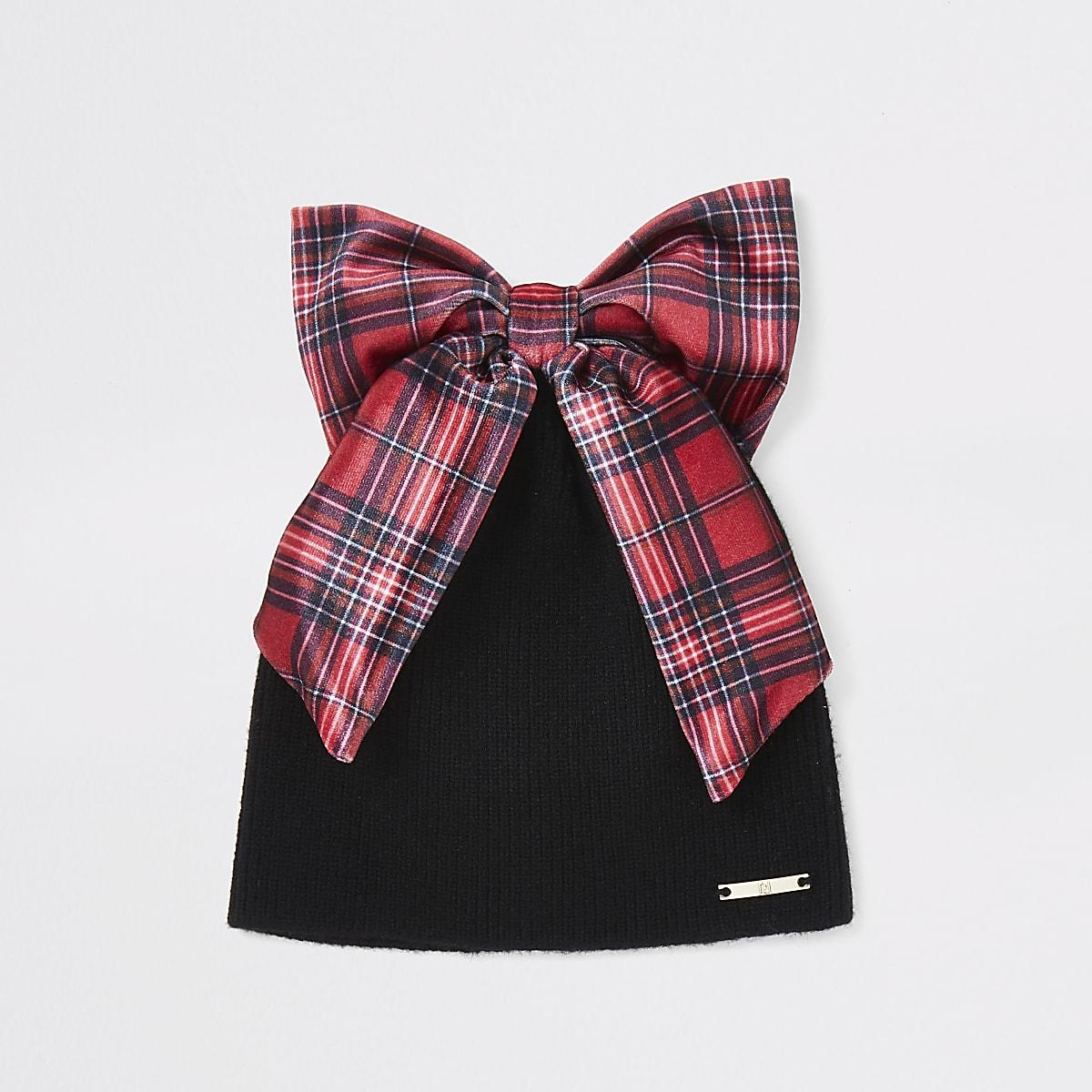 Girls black tartan bow knitted hat
