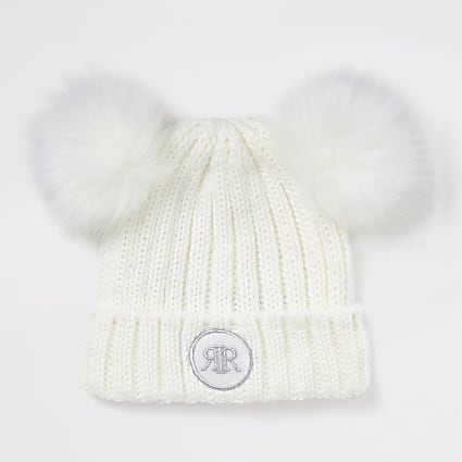 White double faux fur pom beanie hat