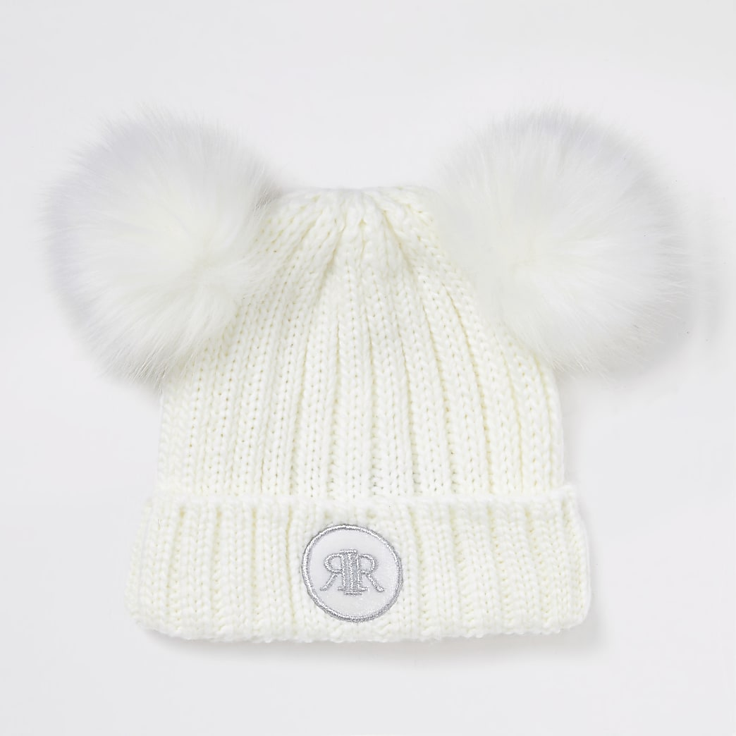 Girls white double faux fur pom beanie hat