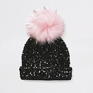 Schwarze Beanie-Mütze mit Pailletten-Verzierung für Mädchen