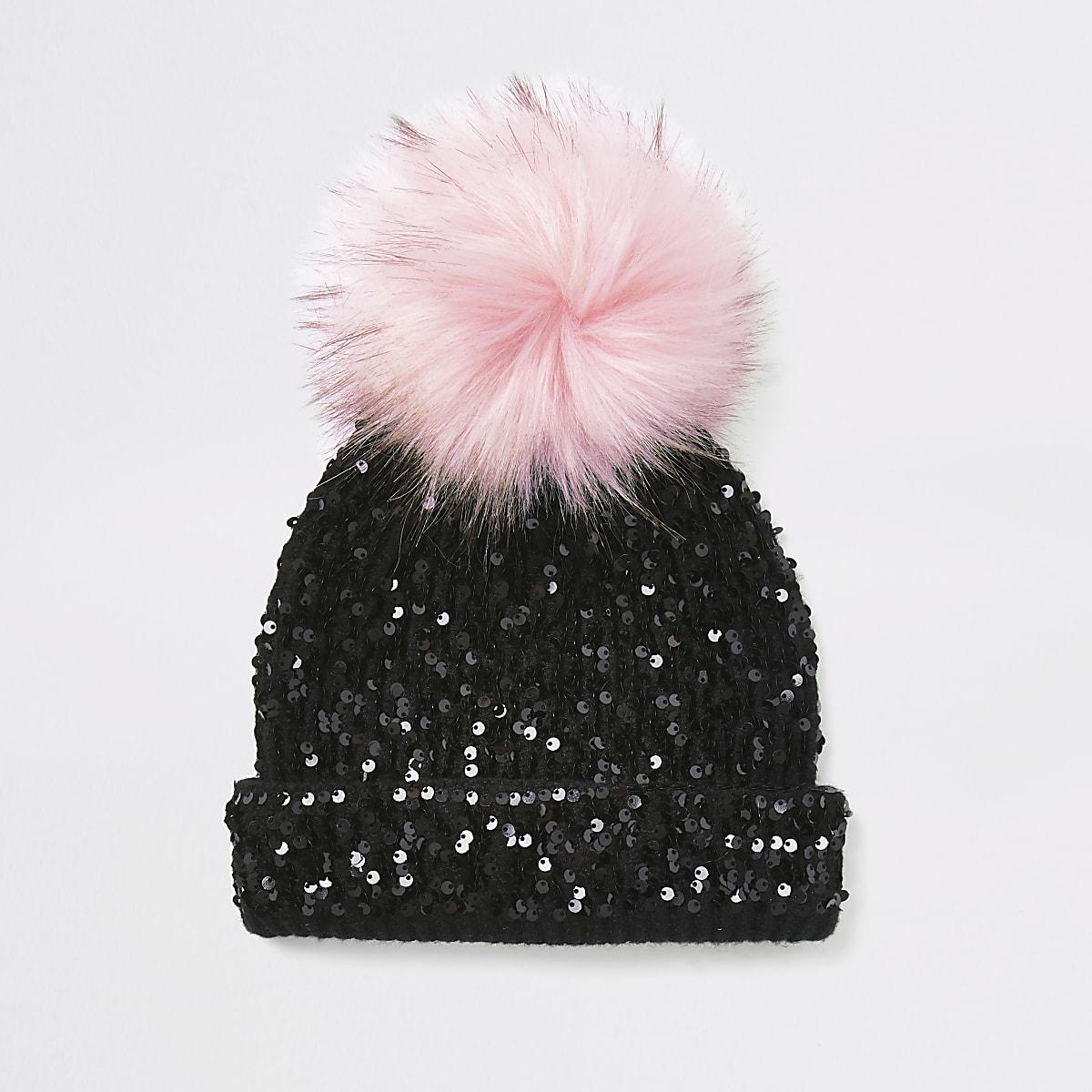 Girls black sequin embellished beanie hat