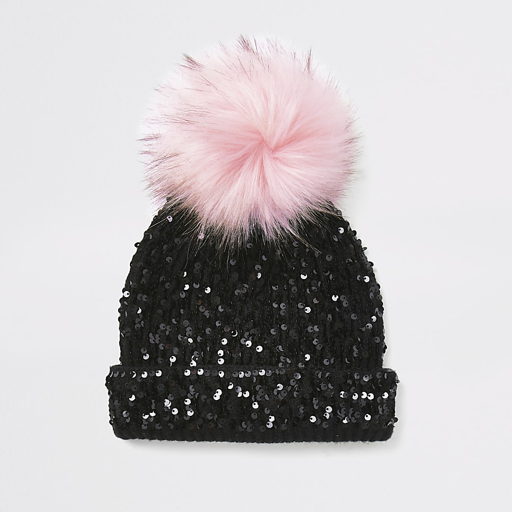 Girls black sequin embellished beanie hat