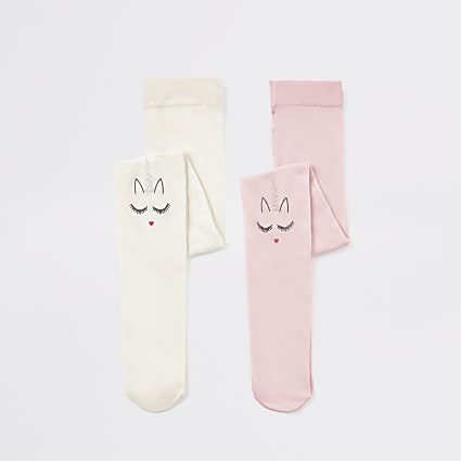 Mini girls unicorn heart print tight 2 pack