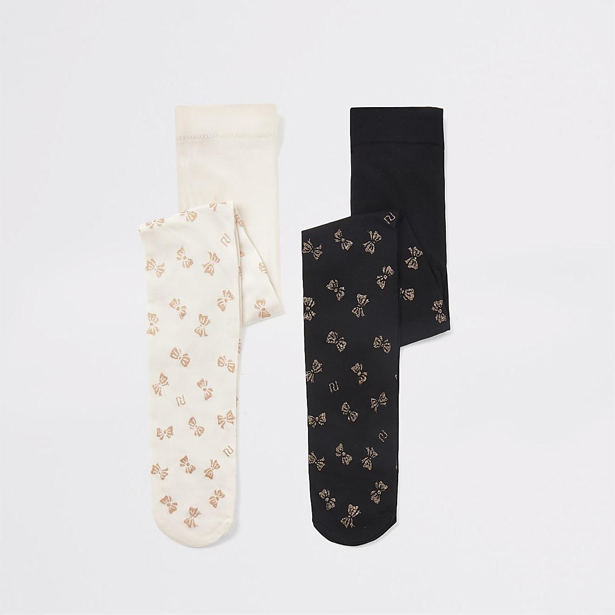 Mini girls black white bow tights 2 pack