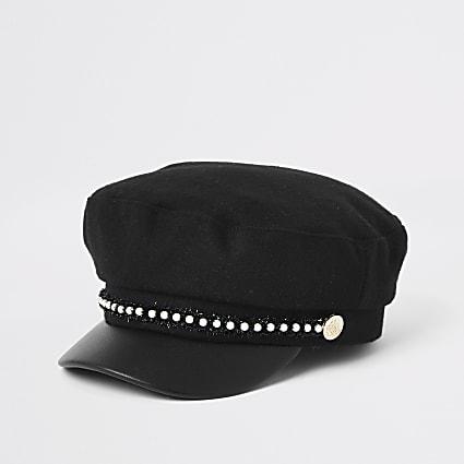Mini girls faux pearl trim baker boy hat
