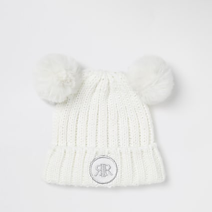Mini girls white faux fur pom pom beanie hat
