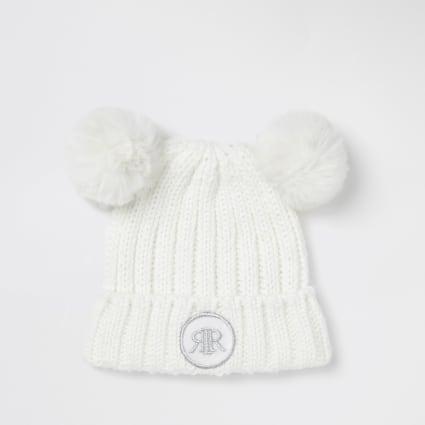 Mini girls white faux fur pom pom beanie hat