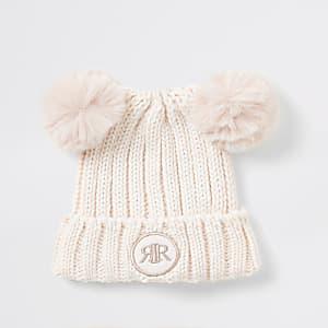 Bonnet rose à pompon en fausse fourrure Mini fille