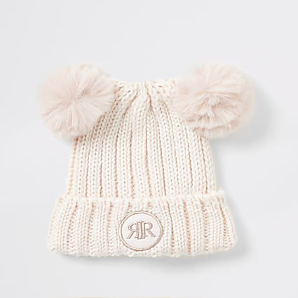 Mini girls pink faux fur pom pom beanie hat