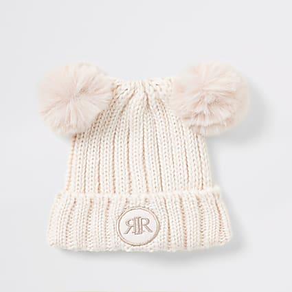 Mini girls pink faux fur pom pom beanie hat