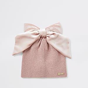 Beanie in Pink mit Samtschleife für kleine Mädchen