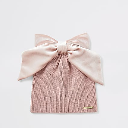 Mini girls pink velvet bow beanie