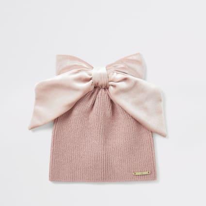 Mini girls pink velvet bow beanie