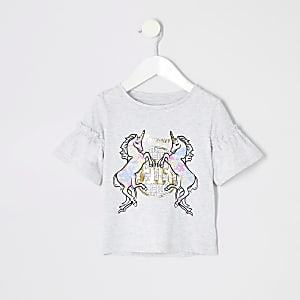 Mini girls grey tie dye unicorn T-shirt