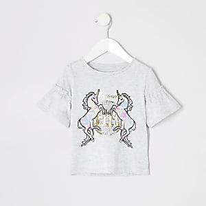 Mini - Grijs tie-dye T-shirt met eenhoorn voor meisjes