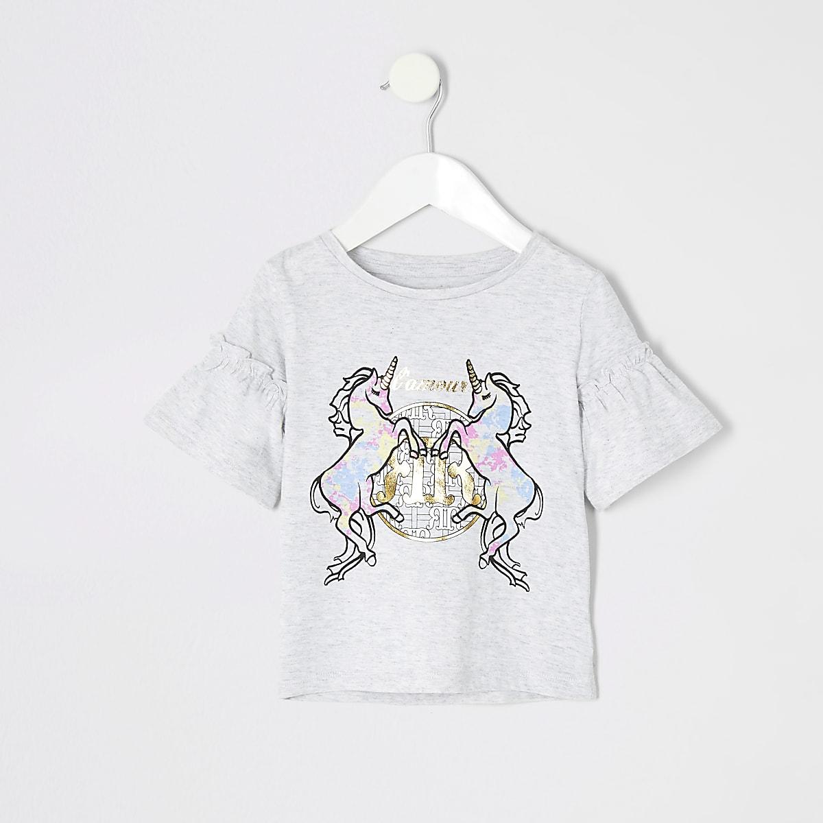 Mini girls grey tie dye unicorn T-shirt