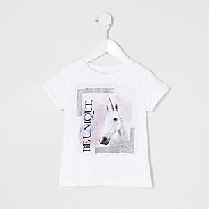 Mini - T-shirt met 'be unique'- en eenhoornprint voor meisjes
