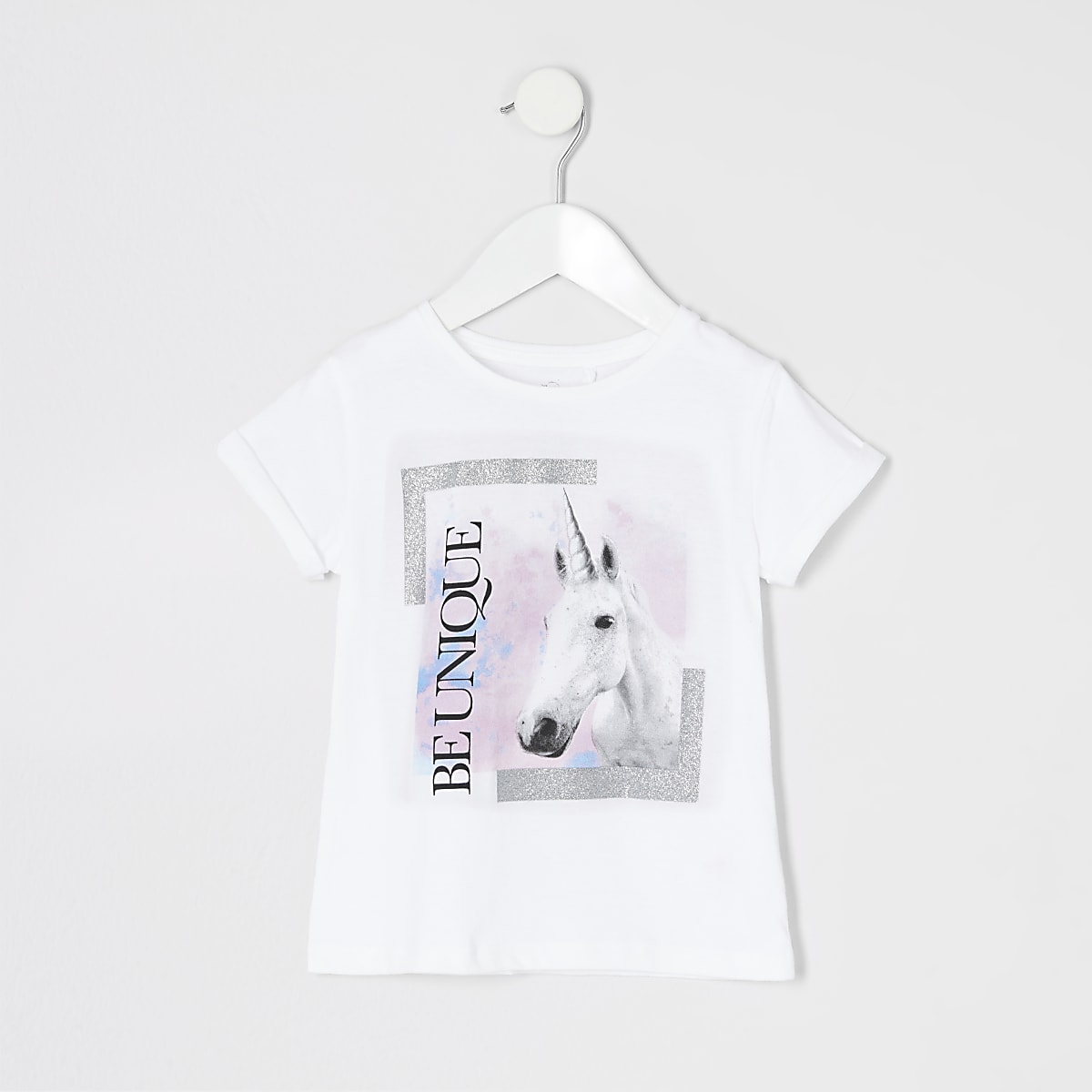 Mini girls 'be unique' unicorn print T-shirt