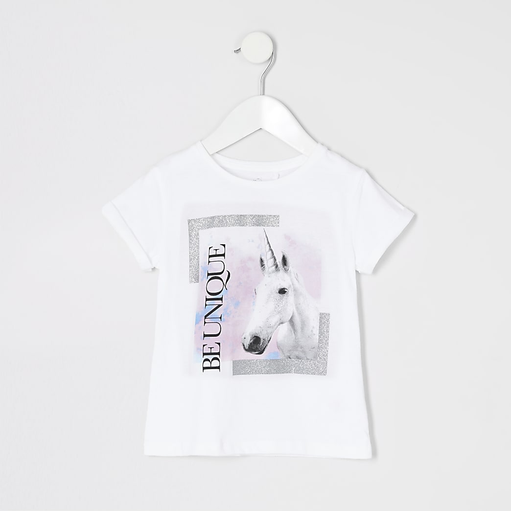 T-shirt imprimé licorne « Be unique » mini fille