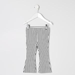 Mini - Witte gestreepte uitlopende broek voor meisjes