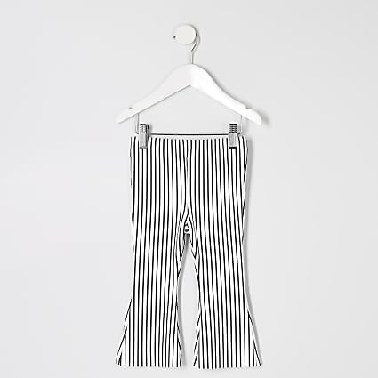 Mini girls white stripe flare trousers
