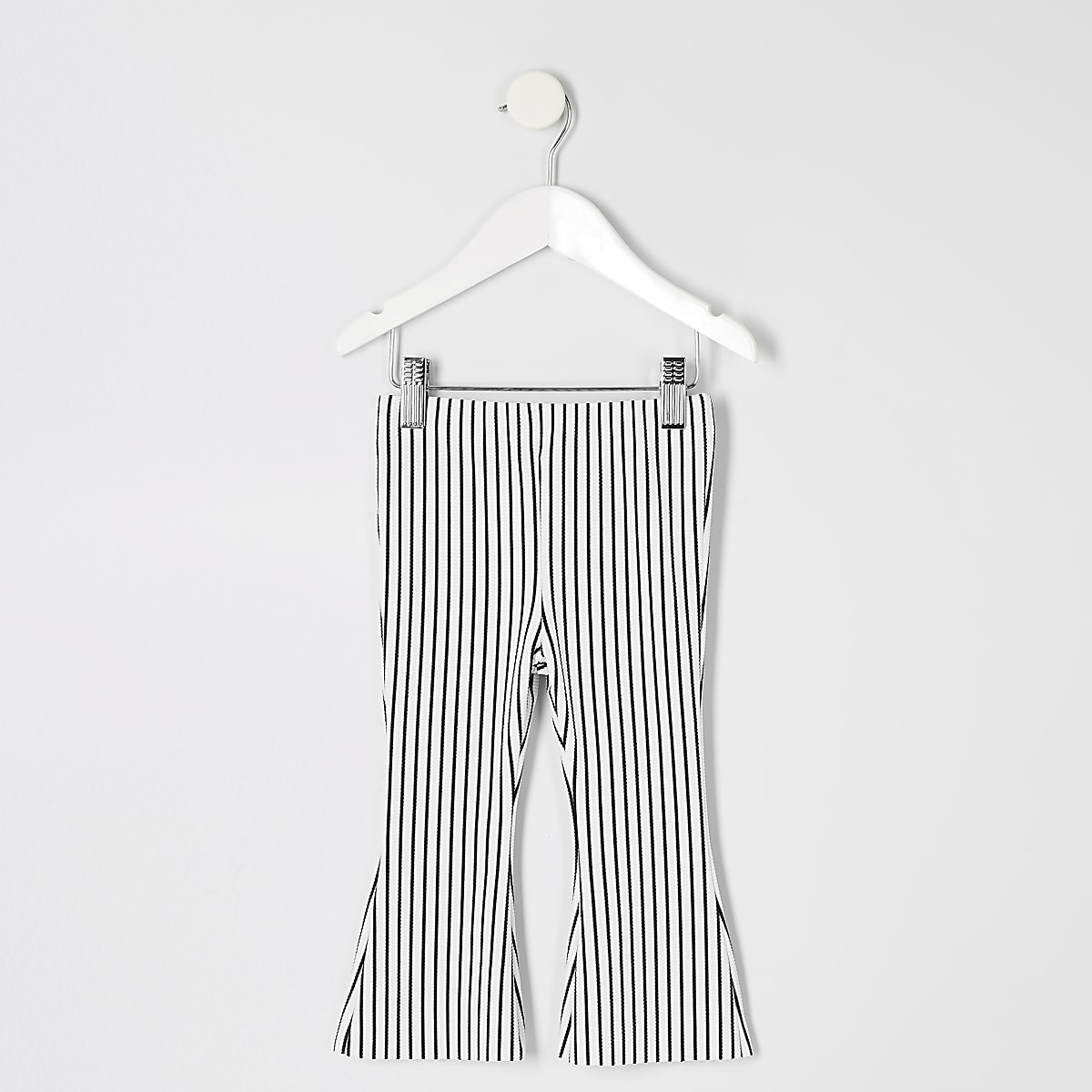 Mini girls white stripe flare pants