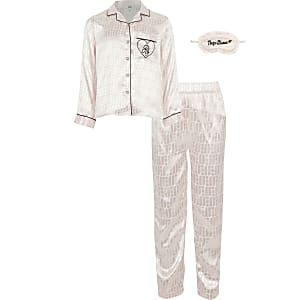 Roze pyjamaset met RI-monogram voor meisjes