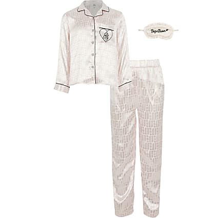 Girls boxed pink RI monogram pyjama set