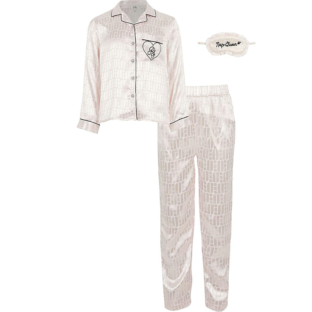 Girls boxed pink RI monogram pyjama set