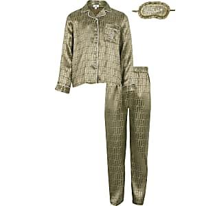Pyjama-Set in Khaki mit RI-Monogramm mit Mädchen