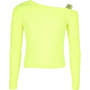 Neon gebreide top met blote schouder voor meisjes