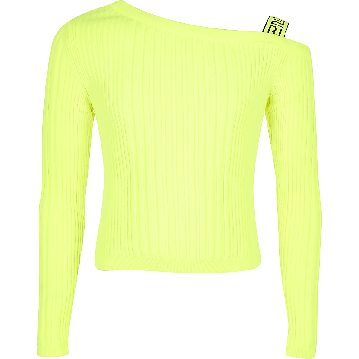 Girls neon one shoulder knitted top