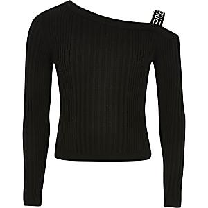 Zwarte gebreide top met blote schouder voor meisjes