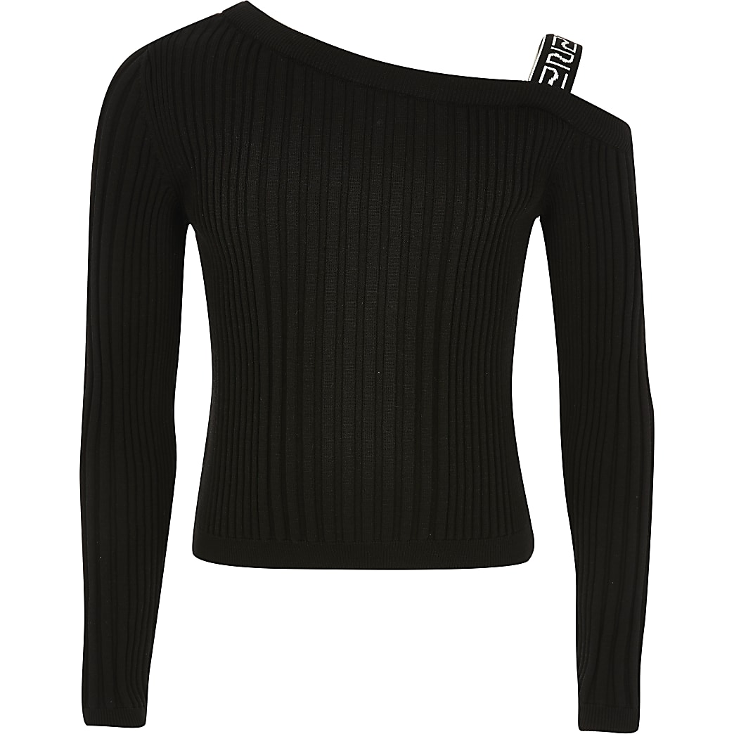 Girls black one shoulder knitted top