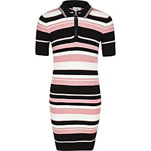 Robe polo en maille rayée noire et rose pour fille
