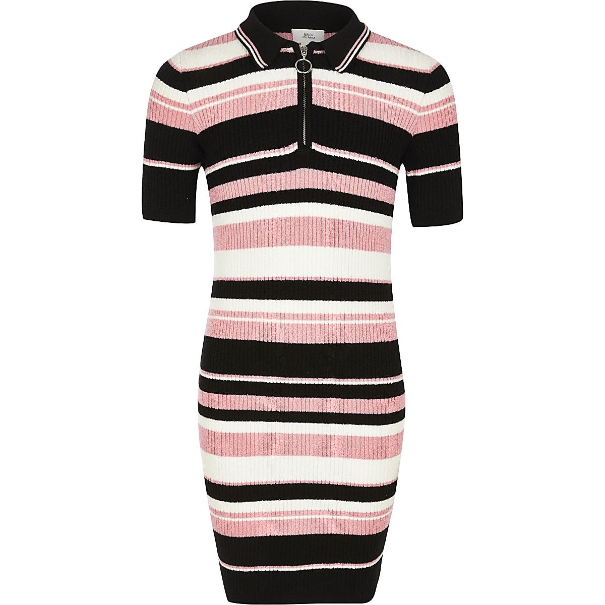 Zwart met roze gestreepte gebreide jurk met polokraag voor meisjes