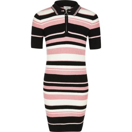 Girls black and pink stripe polo knit dress