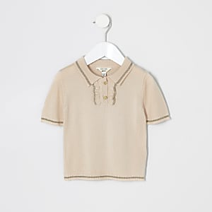 Mini girls pink frill knit polo shirt