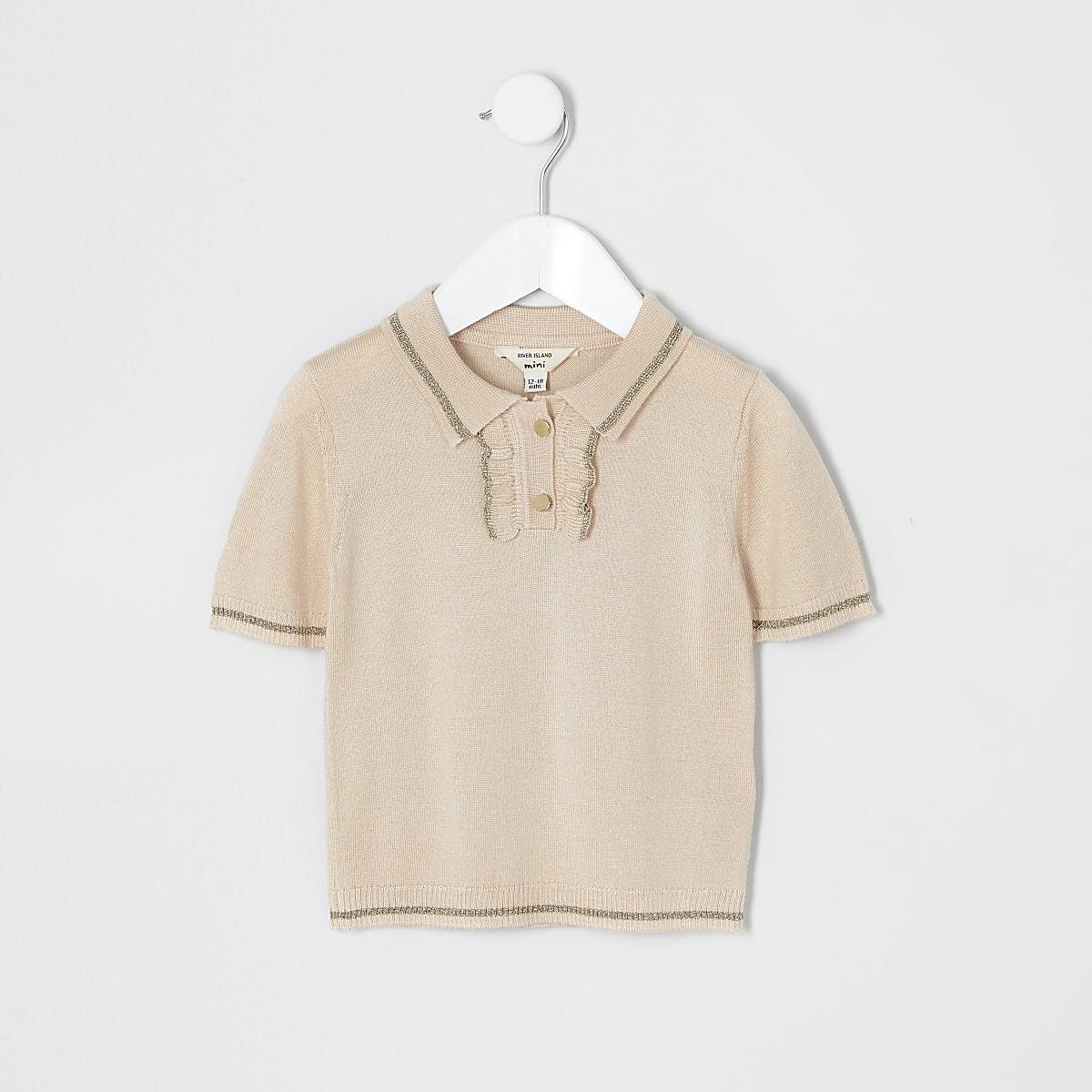 Mini girls pink frill knit polo shirt