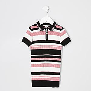 Mini - Wit polojurk met zwarte en roze strepen