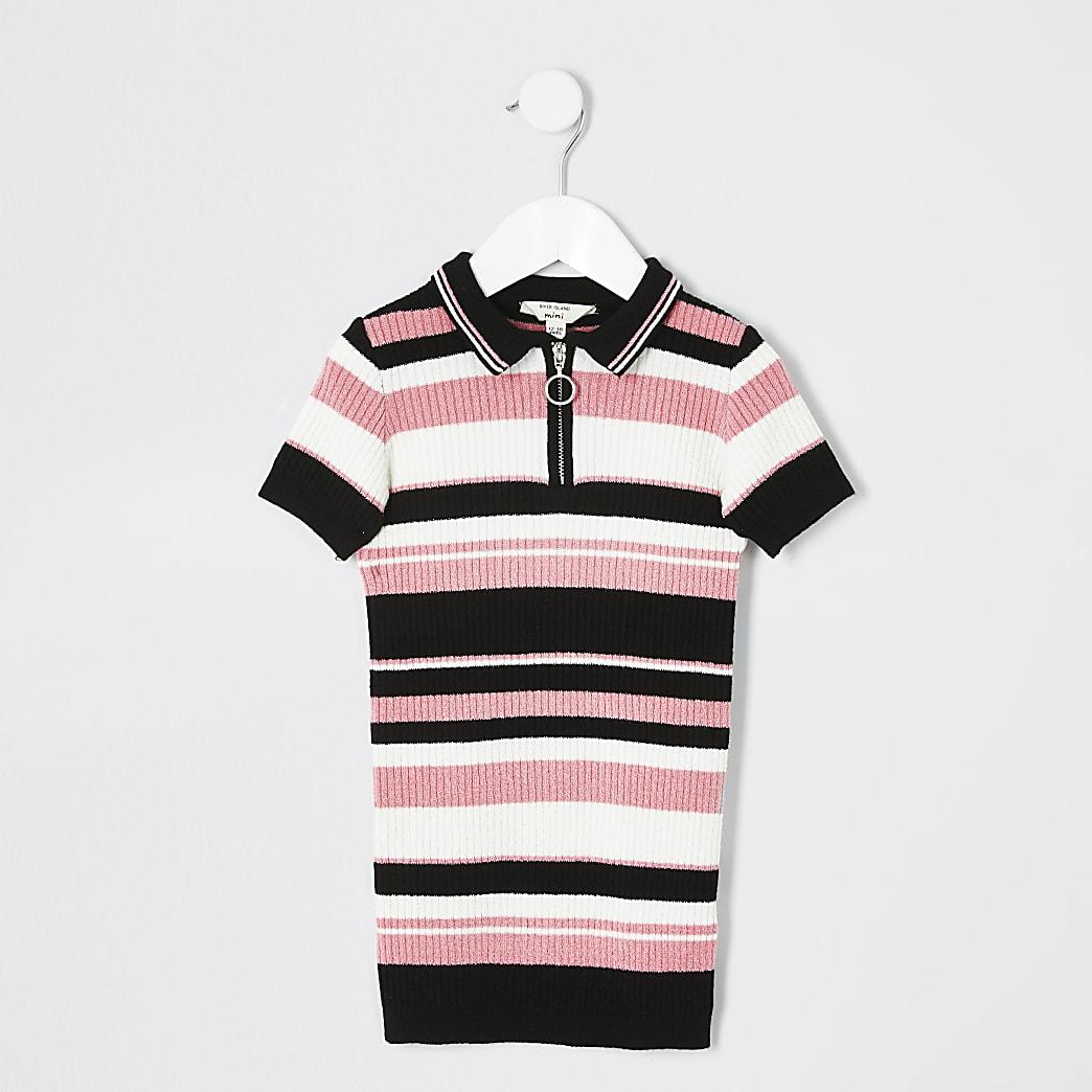 Mini white black pink stripe polo dress