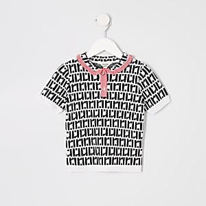 Mini - Wit poloshirt met RI-monogram voor meisjes